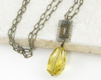 Silver Lock Necklace Chunky Gemstone Necklace Lemon Quartz Pendant Necklace Mixed Metal Rustic Escutcheon Jewelry |NC1-32