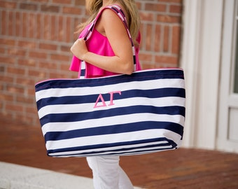 X-large Carry-all Tote personalized - NEW COLORS--Greek, Monogram, Ultimate Tote, travel tote, Big Bag,