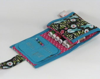 Sewing kit travel size floral birds polkadots pink turquoise black