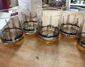 24Karat Gold Rimmed Oil Rig  Derrick Oil Field Glasses Tumblers Set of 8