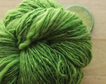 Poison Apple - Handspun Yarn Wool Green White Sparkle DK Weight