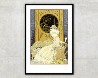 """Art Deco print vintage style illustration for poetry collection """"Fetes Galantes""""  by George Barbier, IL080."""