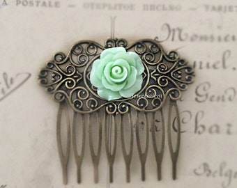 Mint Green Hair Comb Light Green Wedding Bridal Floral Slide Rose Hair Pin Hair Accessories Bridesmaid Gift Shabby Chic Woodland Statement