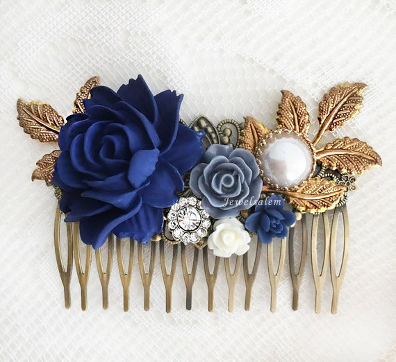 navy blue wedding hair accessories dark blue flower bridal. Black Bedroom Furniture Sets. Home Design Ideas