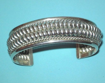 Vintage Sterling Silver 925 Native Double Row Twisted Rope Cuff Bracelet 50.3g