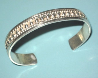 Vintage Thick Sterling Silver Mexico 925 Beaded Rope Cuff Bracelet 29 grams