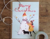 Girl with Snowman - Illustrated Christmas Card