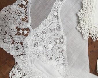 Eleven Hanky Lot, White on White, Bridal