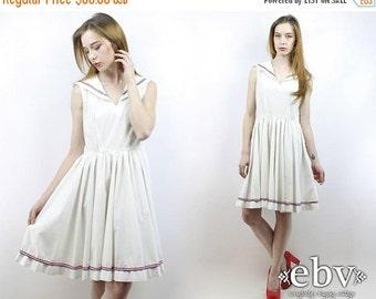 Vintage 70s White Sailor Dress S M Nautical Dress White Dress Summer Dress 1970s Dress Day Dress Sailor Moon Dress