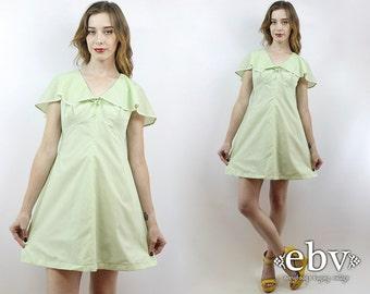 Vintage 70s Sherbert Green Flutter Mini Dress S Lime Green Dress Hippie Dress Hippy Dress Summer Dress 1970s Dress 70s Dress Flutter Dress