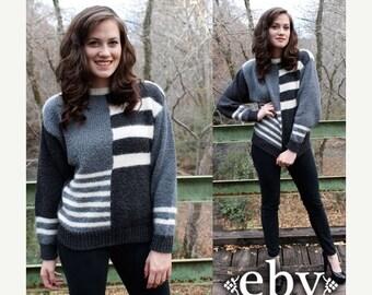 Vintage Sweater Striped Sweater Grey Sweater Vintage Jumper Vintage 80s Grey & White Striped Boatneck Sweater Jumper S M L