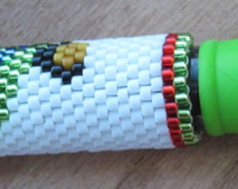 Hand Beaded Male Eclectus Parrot  G2 pen wrap with Light Green pen