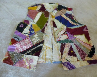 Vest Made From Antique Vintage Crazy Quilt Embroidery, Cross Stitch