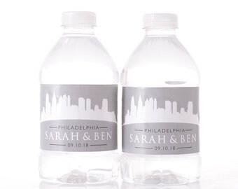 Destination Wedding - 30 Philadelphia Skyline Water Bottle Labels - Wedding Water Bottle Labels - Philly Skyline Wedding Stickers