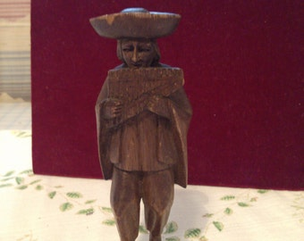 REDUCED  Wooden Flute Player Hand Carved