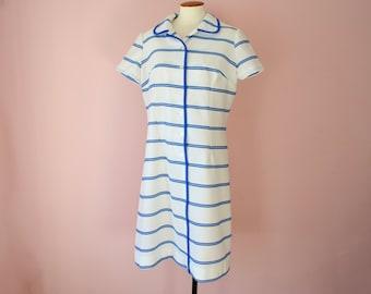 Blue and White Tennis Dress. Casual Summer Shirt Waist Dress.  1970's Waffle Weave Shift. Resort Wear.  Modern XL PLus - VDS183