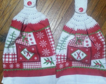 SNOWFLAKES Red & White Plush  KITCHEN TOWELS With White Crotchet Top