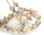 6mm Fancy Bicones, Beige and Pale Lilac with golden inlays, Czech glass pressed beads - 30Pc - 1568