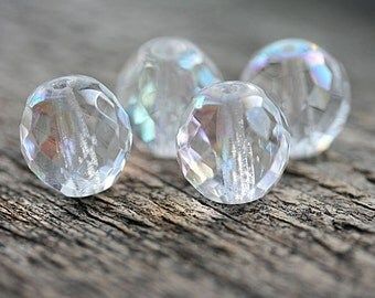 14mm Round beads , Crystal Clear, AB finish, fire polished, czech glass, large ball beads - 4Pc - 2752