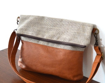 Crossbody Bag, Leather and Upholstery Bag Purse, Everyday Bag