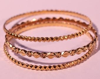 Vintage 70s Bangle Bracelet Gold Plated Bangles Stackable Bangles Indian Jewelry Brand GOPI