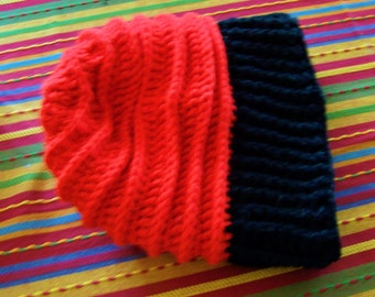 Handmade Unisex Crocheted Red and Black Winter Slouchy Hat  / Slouchy Hats / Winter Wardrobe