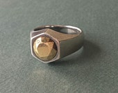 Rare Elsa Peretti Tiffany & Co Ring / Sterling Silver with Gold Stone / Sterling Silver Ring