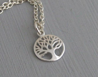 Tree of Life Necklace .. tree pendant, sterling silver pendant, silver jewellery, tiny pendant, woodland jewellery