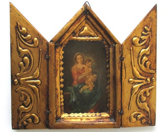 Vintage Madonna and Child Icon, Christ Child, Religious, Christian, Jesus, Savior, Lord, Gold