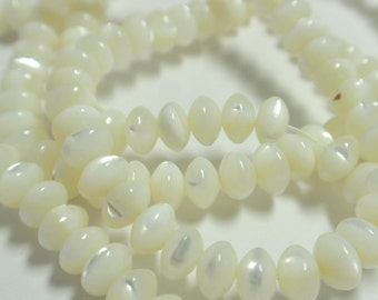 "Mother of Pearl Rondelle Shell Beads,  16"" Strand of Natural White Mother of Pearl Shell Beads, Creamy White Rondell Mother of Pearl- 105 ps"