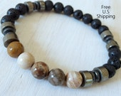 Men's Mala, Petrified wood, Pyrite, Onyx, tribal bracelet, wrist mala, Reiki, Fossil bracelet, Pyrite bracelet, energy bracelet, survival