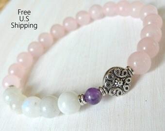 Genuine Moonstone, Amethyst,Rose Quartz, gemstone bracelet, calming, Yoga Bracelet, Meditation bracelet, Reiki,  mala, Moonstone bracelet