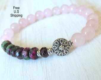 Ruby Zoisite bracelet, Rose Quartz, healing bracelet, positivity, Yoga Bracelet, Meditation bracelet, Reiki, wrist mala, ruby bracelet
