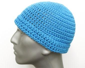 Blue Winter Hat, Crochet Beanie Hat, Toboggan Hat Small
