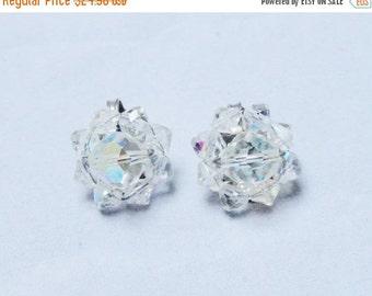 SALE Vintage Earrings 50s 60s Clear Iridescent Crystal Rhinestone Bridal Earrings Wedding Jewelry Clip Ons Clip On Earrings