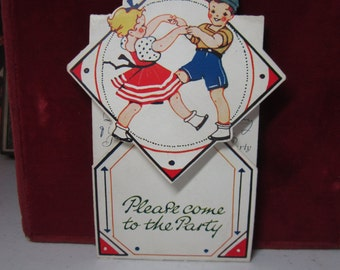 Adorable 1930's art deco die cut colorful children's party invitation little boy and girl dancing boy in party hat Beaux-Arts Great Britain