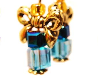 Crystal Cubes with Gold Plated Bows and Seed Beads Create  Present Earrings #giftsforher #birthdayearrings #crystalearrings #manycolors