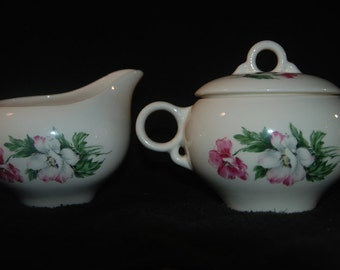 Universal Potteries Ballerina Pink and White Flowers Sugar Bowl, Creamer, Serving Bowl