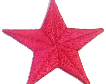 Small Pink Star Iron On Patch Embroidery Sewing DIY Customise Denim Cotton Cute Scene Emo Magenta