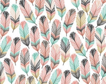 Baby Changing Pad Cover - Feathers in Tulip
