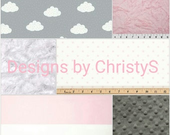 Baby Girl Crib Bedding - Starry Night Bedding Ensemble - Clouds, Stars, Stripes, and Crushed Minky - Gray, White, and Light Pink