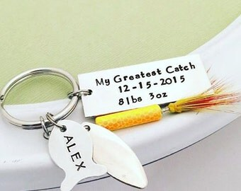 Fathers Day Fishing Lure - Personalized Hand Stamped Key Chain - My Greatest Catch - Mens Gift - Baby Weight - Fish Fishing Dad