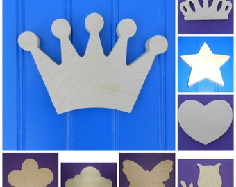 "Wood Shapes - 8"" Size - Fairy Tale -Unpainted Wooden - Wall Hanging Decor - Kids Craft - DIY Project - Multiple Options"
