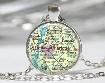 Charlotte Necklace  Map Jewelry Genealogy Necklace Home Necklace Charlotte Jewelry Charlotte Keychain Map Necklace
