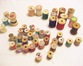 45 Vintage Wooden Thread Spools in Assorted Sizes, Empty Thread Spools, Full Thread Spools Instant Collection