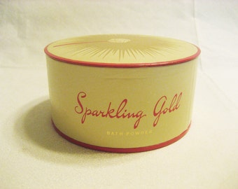 Vintage Fuller Brush Sparkling Gold Dusting Powder in Beige / Pink Plastic Container with Powder Puff New Unused Bath Powder