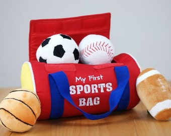 Embroidered My First Sports Bag Personalized Baby Gift Soccer Baseball Football Basketball Toddler
