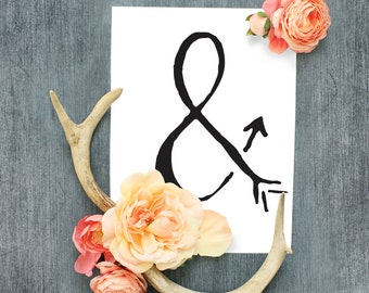 Ampersand Print, Ampersand Wall Art, Ampersand Print, Arrow Wall Art, Arrow Sign, Arrow Print