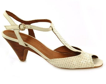 Cream Perforated Leather T-Strap Kitten Heels - Size 37 - US 6.5 - Made in Spain -Sling Back Dancing Shoes Swing Party Peep Toe Cute Sexy