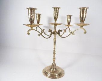 Vintage Brass Candelabra - 5 Candle Holder Brass Candelabra